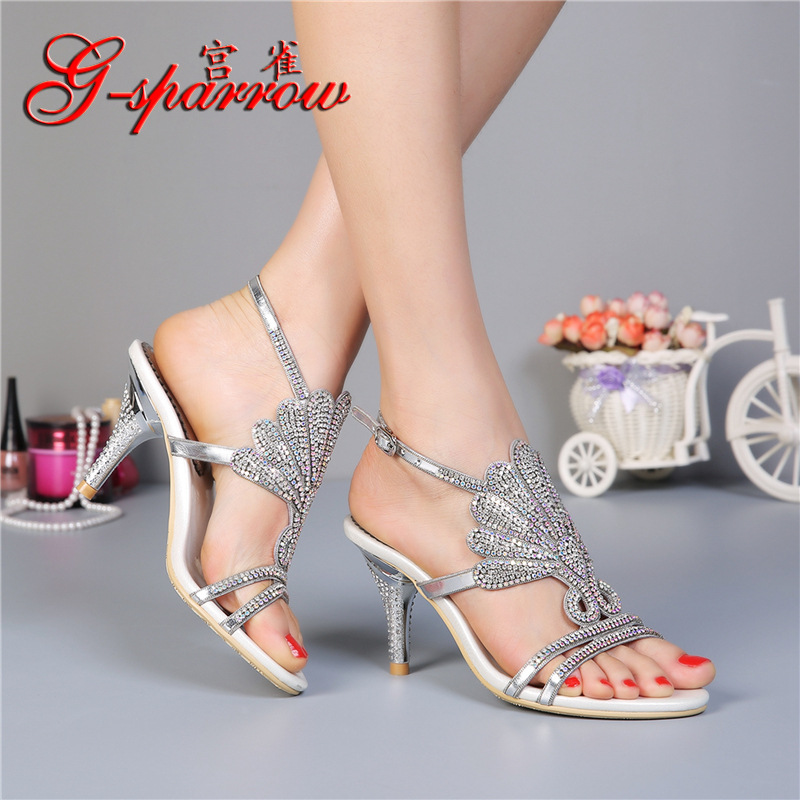 G sparrow 2019 Summer New Rhinestone Women 39 s Sandals High Heeled Stiletto Elegant Sexy Ladies Black Casual Shoes 8cm in High Heels from Shoes