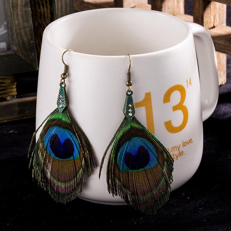 2019 Women's Feather earring Ethnic Round Wooden Beads Peacock Feather Long tassel earrings for women Vintage Bohemian jewelry