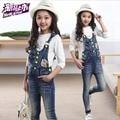 Spring Autumn Brand High Quality Children Denim Overalls Baby Girls Cartoon Bib Jeans Kids Pants For 5-14 Years Old