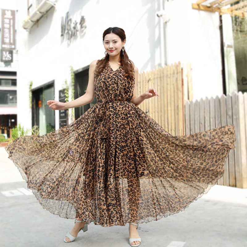 c87cbd77a8 Detail Feedback Questions about Sexy Leopard print Chiffon Long Maxi Dress  Free and loose Beach Wedding Guest V Neck Long Flowy Dress Plus Size  available on ...