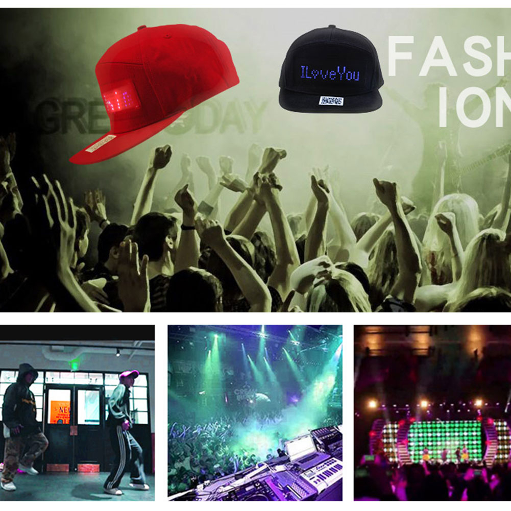Bluetooth LED Hat DIY APP Control Programmable Scrolling Message Display Board Baseball Cap Led Party Luminous Hat in Party Hats from Home Garden