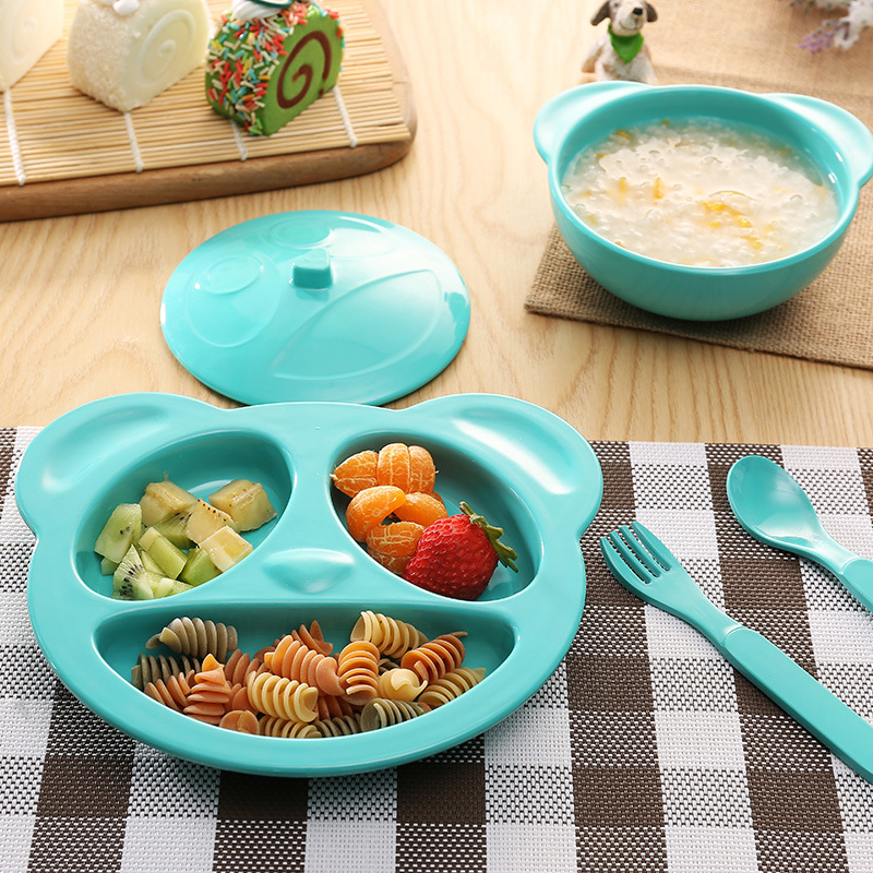 4pcs/Set New Cartoon Melamine Flatware Set Toddler Baby Kids Plate Bowl With Forks Spoon Dinnerware Set Kids Child Tableware Set