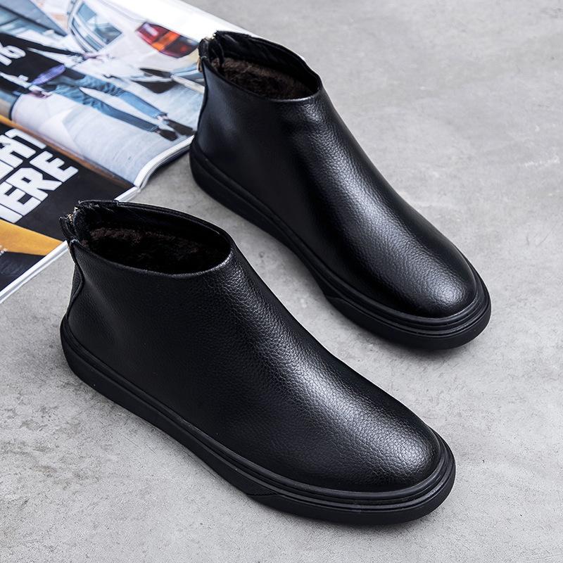 Genuine Leather Chelsea Boots Men Autumn Winter Shoes Warm Plush Men Cow Leather Casual Shoes Male Ankle Boots Black KA1626