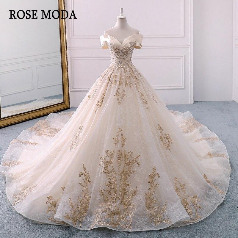 Rose Moda Royal Lace Wedding Dress 2019 Long Train Off Shoulder Princess Champagne Church Wedding Dresses Ball Gown