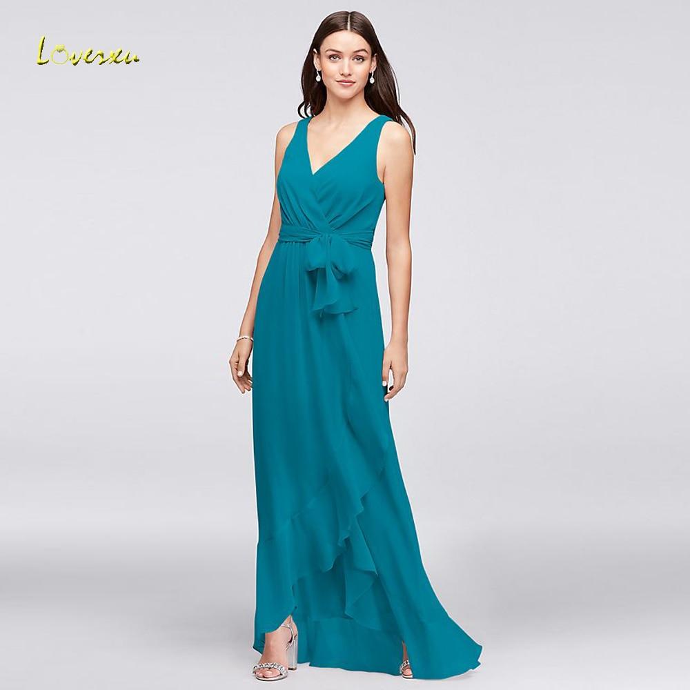 Loverxu Vestido De Festa Longo V Neck Beach   Bridesmaid     Dresses   2018 Luxury Vintage Pleat Chiffon Wedding Party   Dress   Plus Size