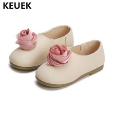 Новые весенние лоферы, детская обувь для девочек, дышащая нескользящая обувь на плоской подошве с цветочным принтом, детская кожаная обувь, повседневная детская обувь принцессы 041