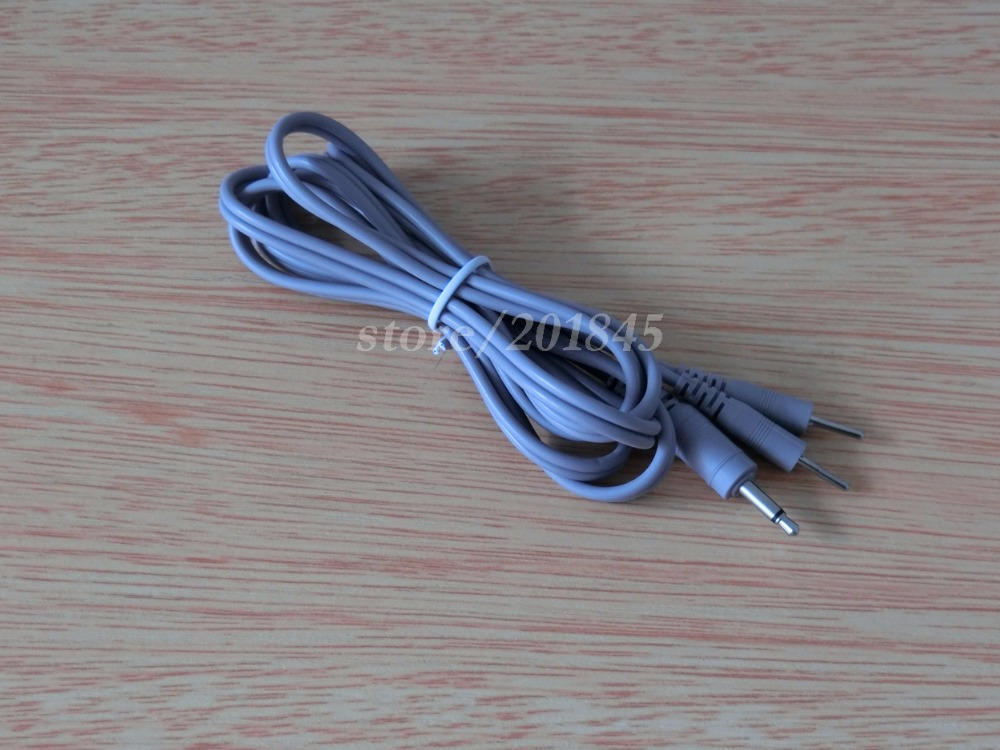 2Pcs Top Quality DC3.5mm 2 In 1 Connecting Cables Lead Wires For Electrode Massager Digital TENS Therapy Color Gray