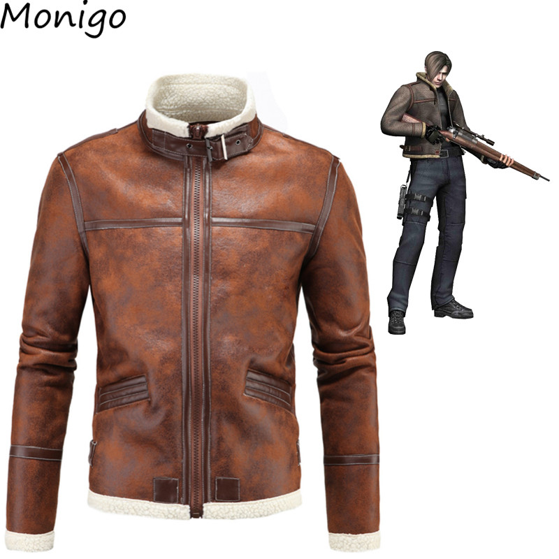 New Resident Evil 4 Leon Lyon Parkas Jacket Leather Mens Leather Jacket Coat PU High Quality Extra Plus Size resident evil 5 русский язык sony playstation 4 ролевая боевик