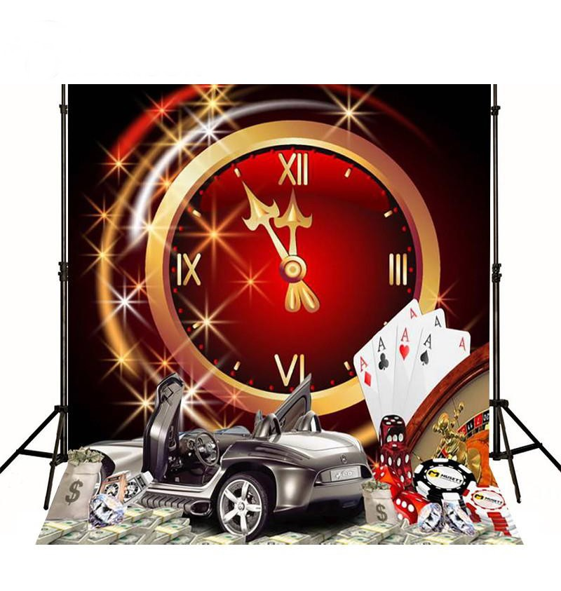 Las Vegas Casino Poker Clock Car photo backdrop Vinyl cloth High quality Computer printed wall  Photography Backgrounds