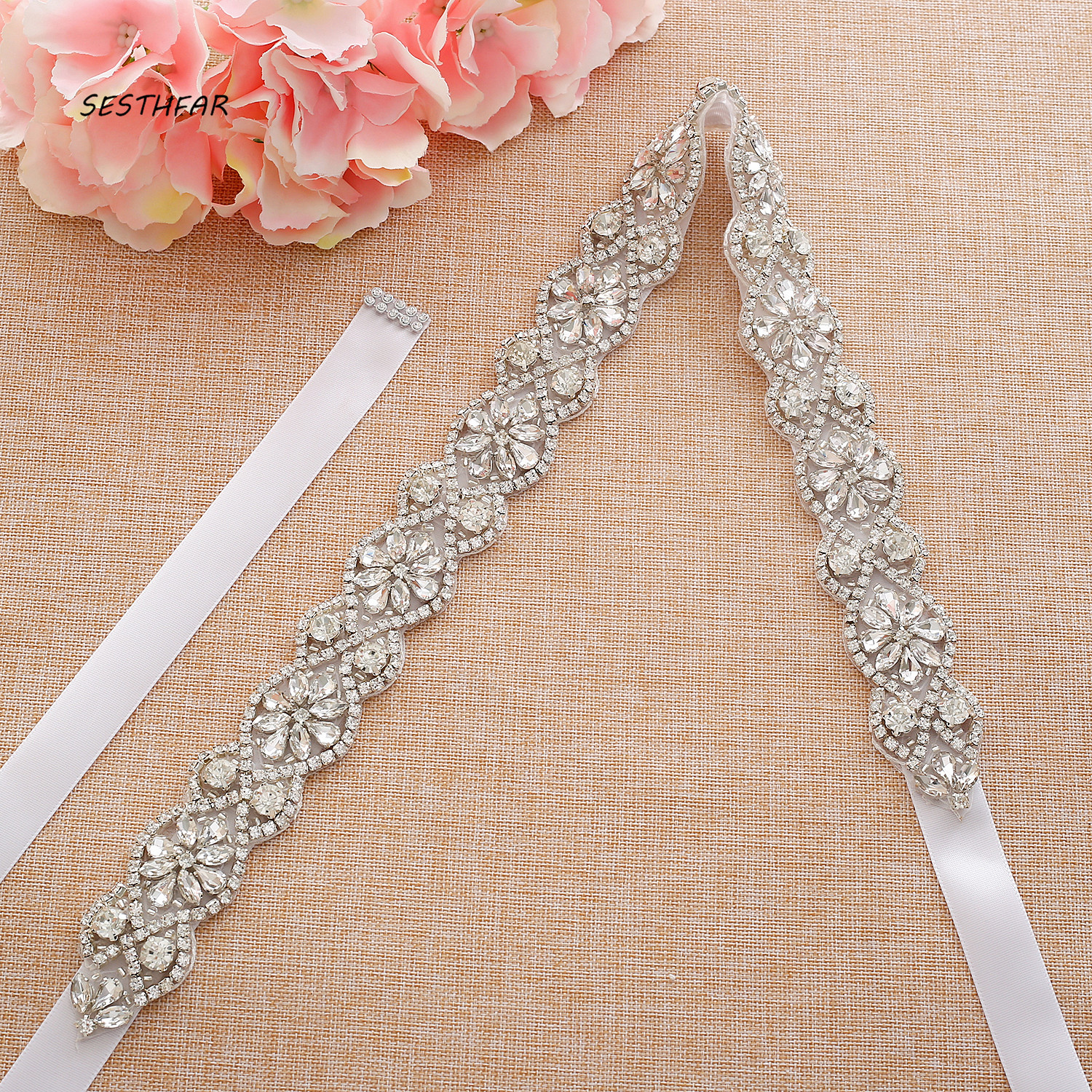 Rhinestones Thin Flower Bridal Belt Diamond Wedding Belt Ribbon Crystal Bridal Sash For Wedding Gown J194S