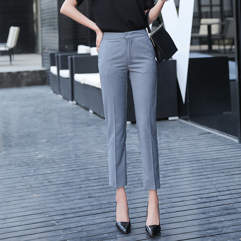 Solid Casual Pencil Pants Women High Waist Suit Pant Pockets Work Business Trouser Female Bottom 2018 pantalon Women Women's Clothings Women's Jeans cb5feb1b7314637725a2e7: black|gray