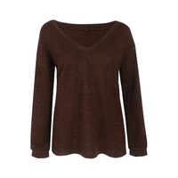 Fast Selling Amazon Explosion Autumn Winter Fashion Long Sleeved V Collar Sweater 10 Color 4 Yards