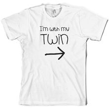 I'm With My Twin (Right) - Mens T-Shirt - Twins - Identical  Sleeve Hot Print T Shirt Mens Short Sleeve Hot Tops