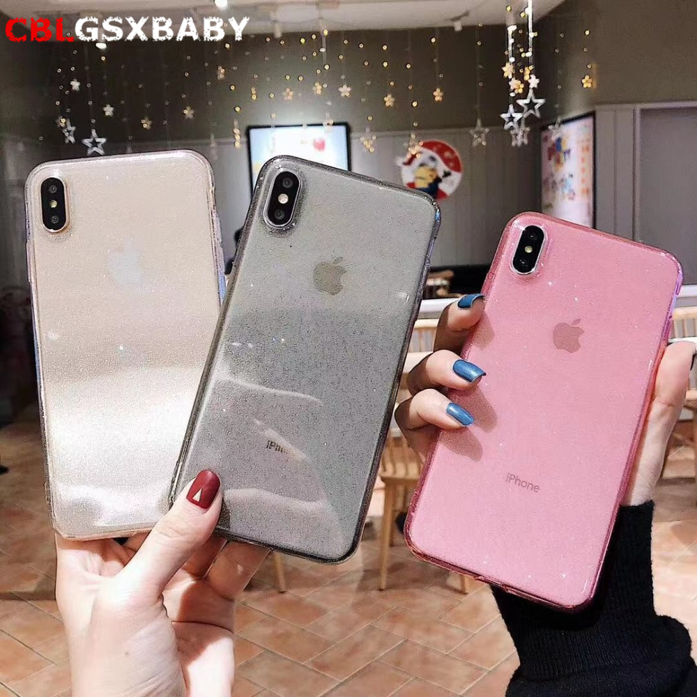 Clear Bling Glitter Soft Phone Case For iPhone 11 Pro XS Max XR Cases 6S 7 8 Plus Fashion TPU Powder Back Cover