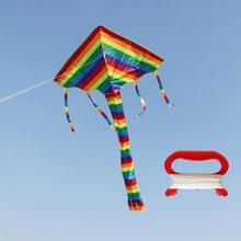 Детский воздушный змей с радугой, большой и маленький, в разноцветную полоску, с длинным хвостом, тканевый воздушный змей