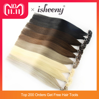 Isheeny 14 18 20 22 24 Remy Keratin U Tip Hair Extensions Silky Straight Pre Bonding Human Hair Extension Natural 50pcs