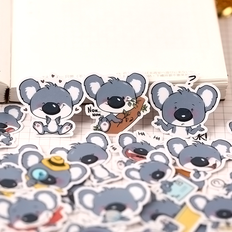 40pcs Cute Animal Koala Fodder Stickers Package Hand Books Cartoon Diary Creative Diy Tiny Translucent Paste Tools Stationery