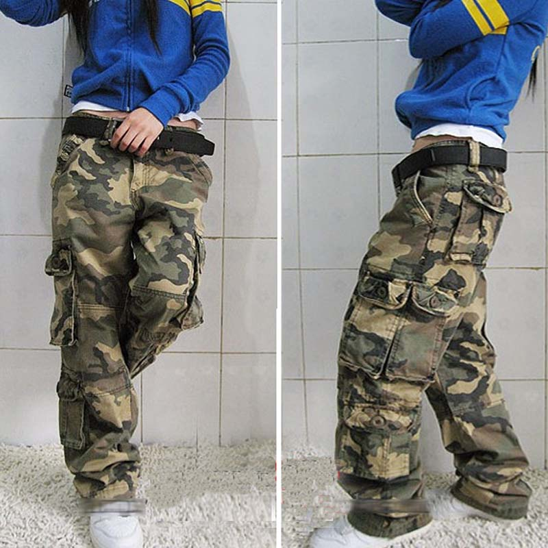 Autumn Camouflage Woman Cargo Pants Cotton Trousers Loose -4313