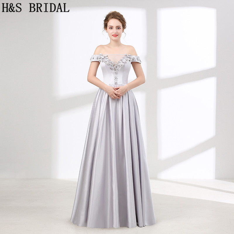 H&S BRIDAL Off Shoulder   bridesmaid     dresses   Sliver Boat Neck Beaded   bridesmaid  -  dresses   A-line   bridesmaids     dresses   for women