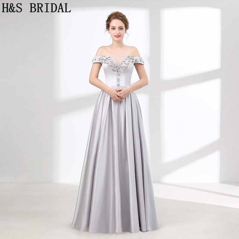 H & S robes de demoiselle d'honneur à épaules dénudées en argent col bateau robes de demoiselle d'honneur perlées a-ligne robes de demoiselles d'honneur pour femmes