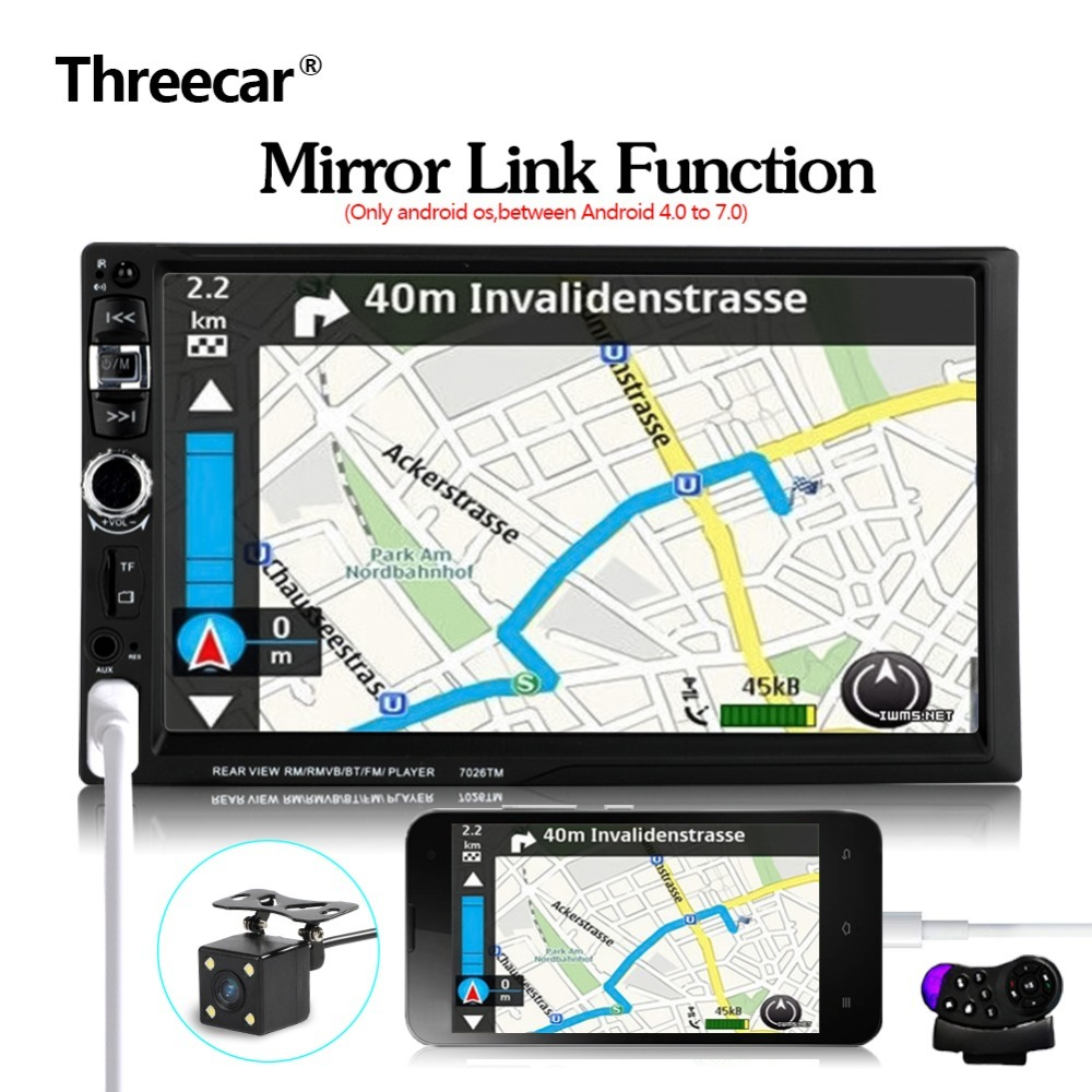 """2 Din Mirror Link 7"""" Bluetooth Car Radio Steering Wheel Control with Rear Camera 12 languages Mp5 Mp4 USB TF FM Stereo"""