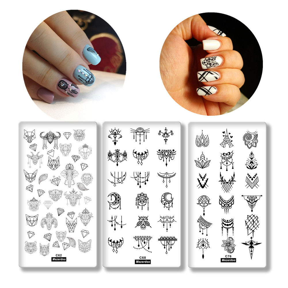 3Pcs Nail Stamping Plates Set Cartoon Animal Head Flower Series Manicure Stamping Template Image Plates for DIY Nail Decoration in Nail Art Templates from Beauty Health