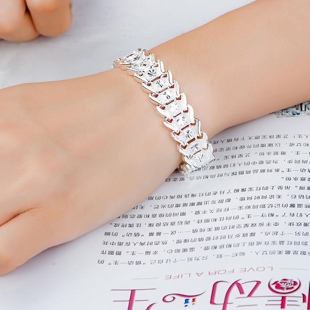 Fashion 925 Sterling Silver Bracelets Women Roman Crystal Bangles Birthday Christmas Valentine Gifts Accessories Jewelry