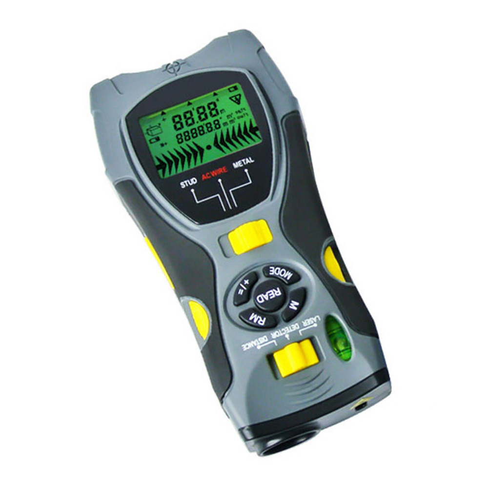 Multifunction 5in1 Digital Distance Meter Stud Joists Metal AC Live Wire Detector Laser Marker Portable Tool