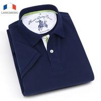 Langmeng New 2017 Fashion Brand Men Polo Shirt Solid Color Short Sleeve Slim Fit Shirt Men