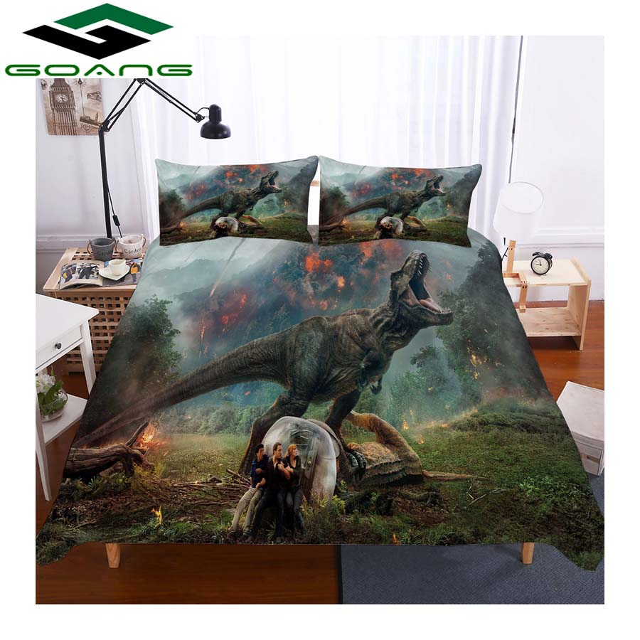 GOANG Kids Bedding Sets Luxury Home Textiles 3d Digital Printing Dinosaurs With Fire 3pcs Boy Bedding Set 100% Microfiber