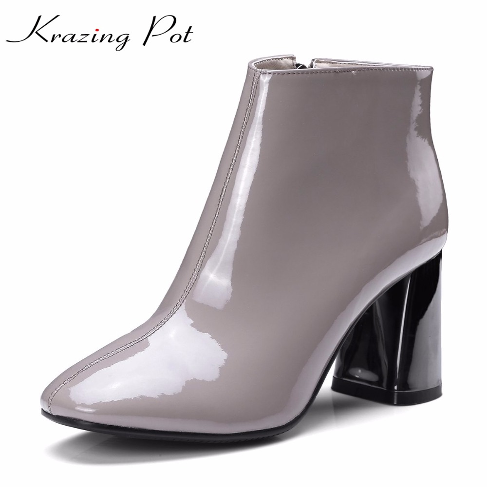 Krazing Pot recommend patent genuine leather fashion winter boots zipper thick heels handmade office lady women ankle boots L03 krazing pot genuine leather sheep skin thick high heels square toe zipper boots women superstar party western mid calf boots l17