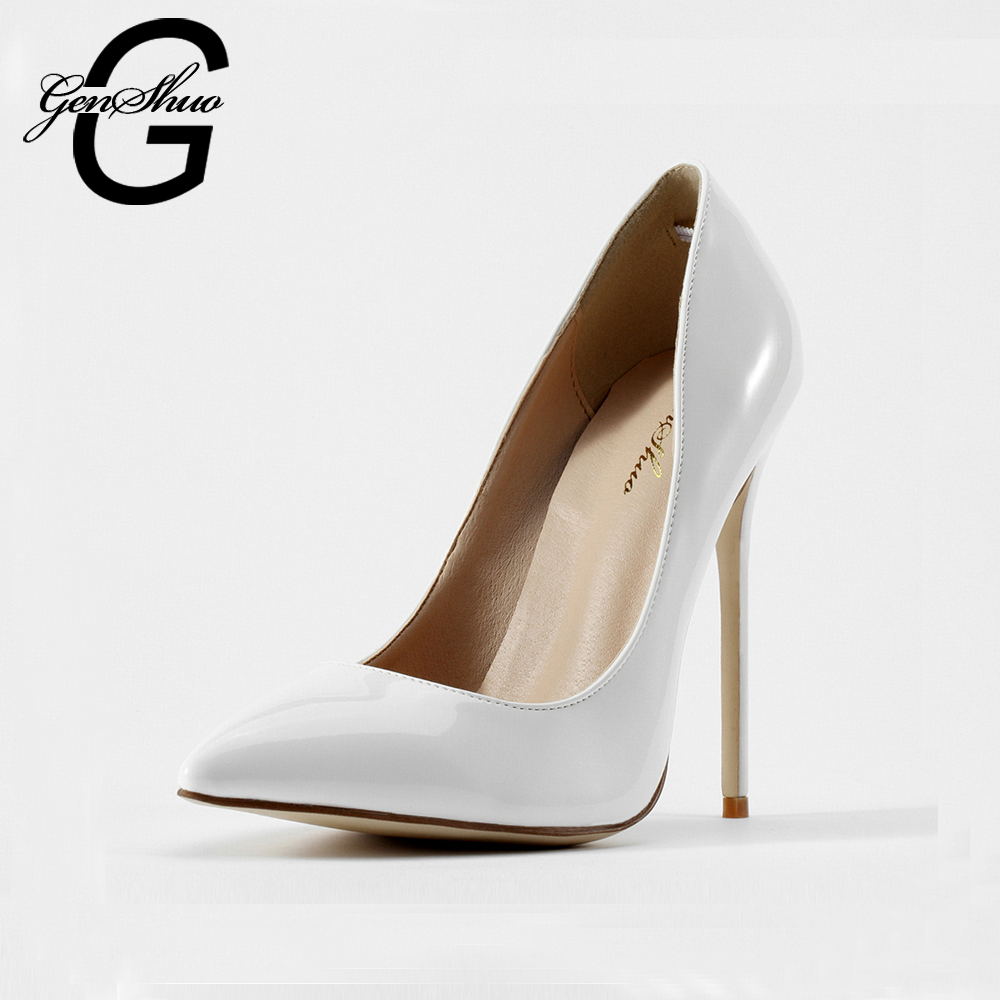genshuo women shoes 2016 spring and autumn new shoes ladies white high heels pumps dress bridal. Black Bedroom Furniture Sets. Home Design Ideas