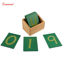 Beech Wood Math Toy 0-9 Sandpaper Numbers With Box Child Wooden Montessori Materials Green Count Matching Learn MA010-3
