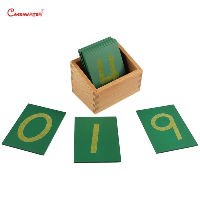 Bois de hêtre jouet mathématique 0-9 numéros de papier de verre avec boîte enfant en bois Montessori matériaux vert nombre de numéros correspondant apprendre MA010-3