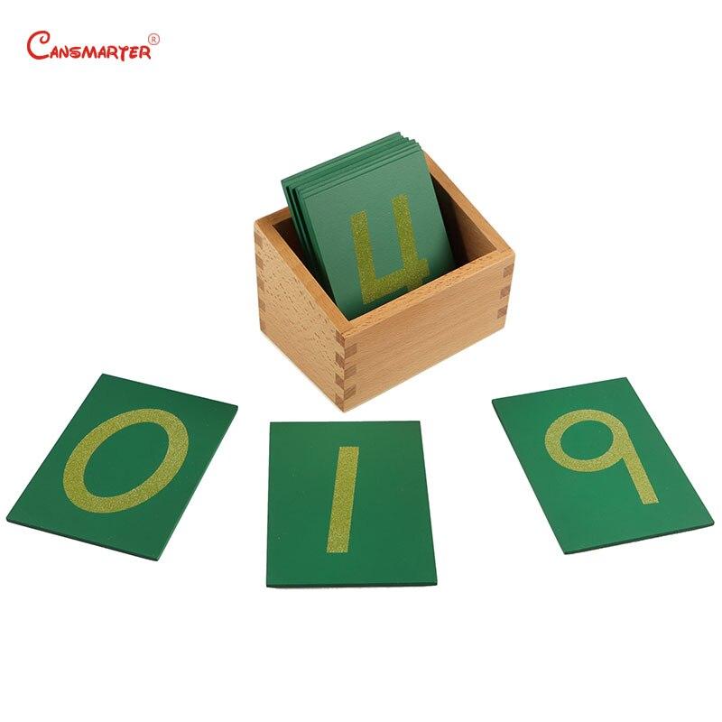 Hêtre Bois jouet mathématique 0-9 Numéro De Papier De Verre Avec la Boîte Enfant En Bois Montessori Matériaux Vert Décompte Numéros Correspondants Apprendre MA010-35