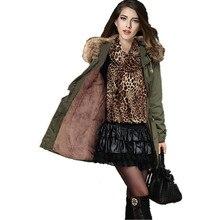 ВЫСОКОЕ качество зимняя куртка пальто женщин парки army green & Black Большой меховой воротник с капюшоном девушку пиджаки парки CD184