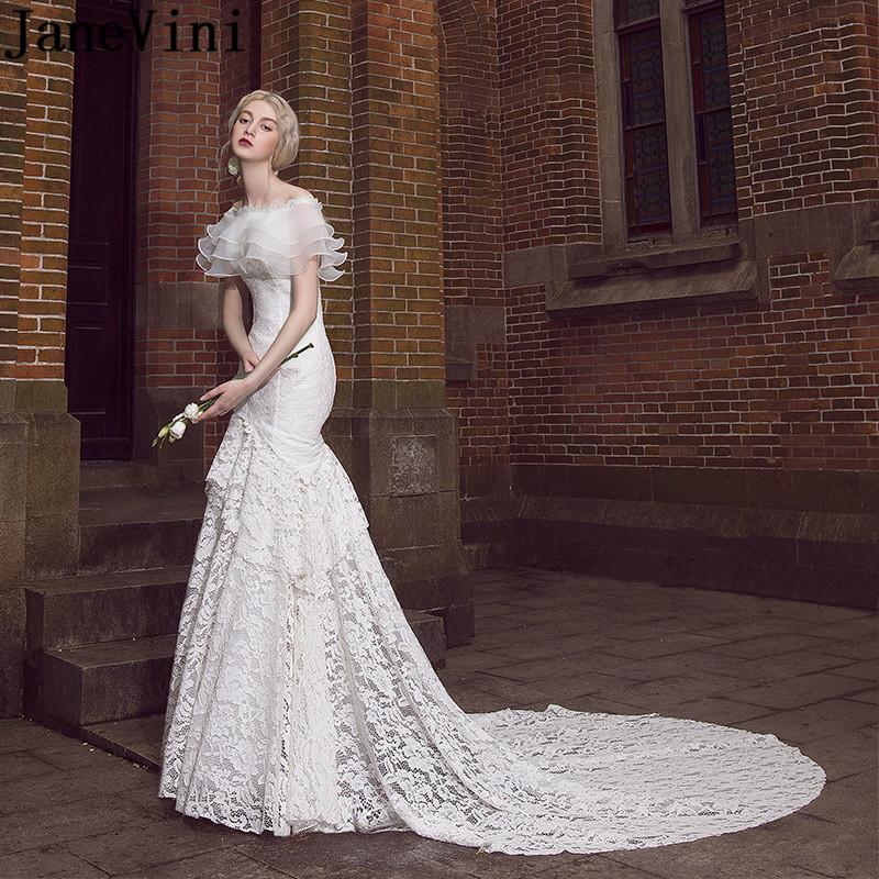 Bridal Gowns With Detachable Trains: JaneVini Mermaid Lace Sexy Wedding Dress Vintage