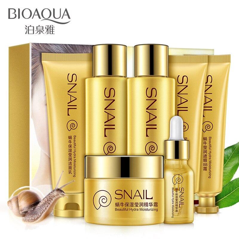Bioaqua 7 pièces ensemble escargot hydratant brillant nouveau tendre et belle peau pores hydratant soin du visage ensemble