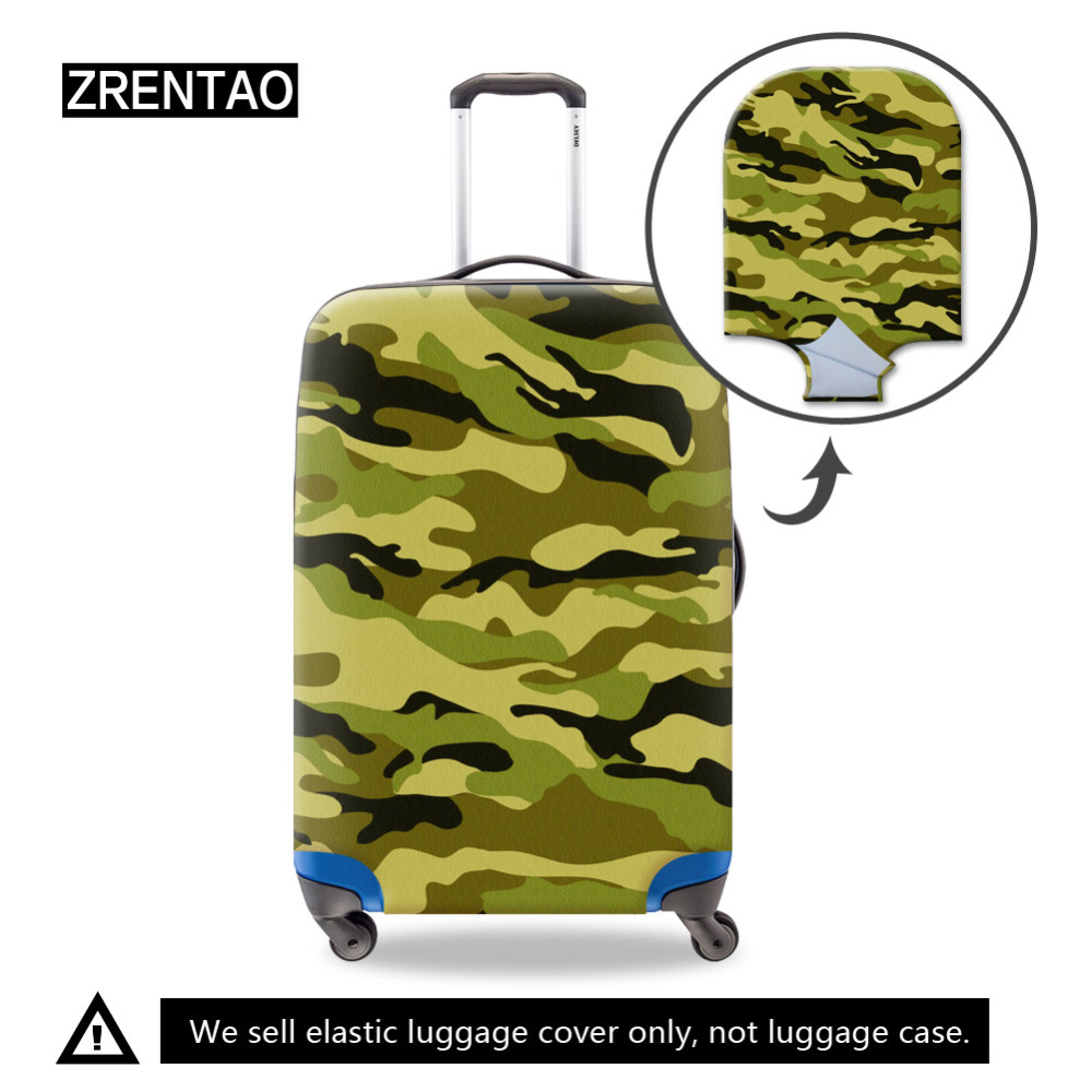 Camouflage Pattern Small Medium Large Mens Trip Luggage Case Covers Waterproof Womens Zippered Suitcase Protective Bag Cover