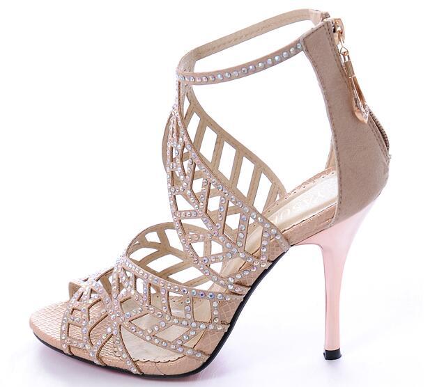 ФОТО New fashion crystal embellished high heel sandal summer open toe cutouts thin heels sandal caged style gladiator sandal