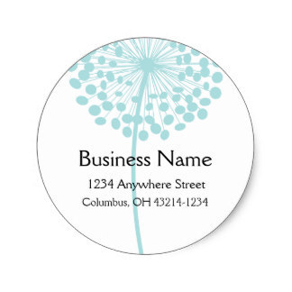 3 8cm blue dandelion flower round address labels in stickers from