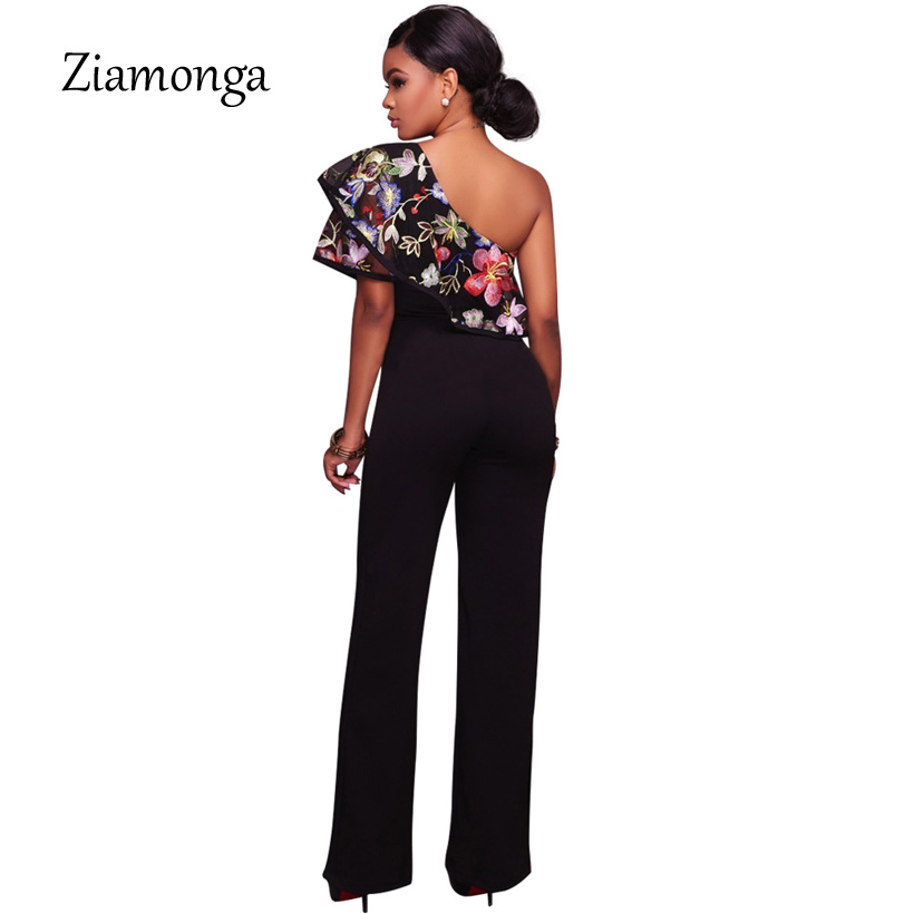 31d4a5cfdb2 Ziamonga Women One Shoulder Jumpsuits Floral Embroidery Playsuits One Piece  Rompers 2017 Autumn Sexy Women Outfit Lady Overalls