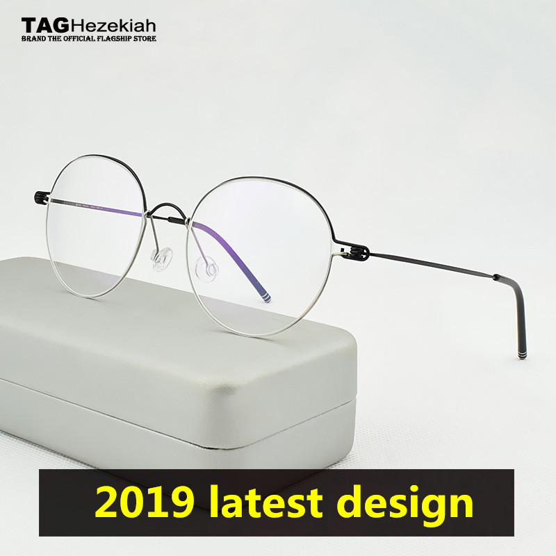 2019 Fashion TAG Brand Spectacles Round Ultralight Titanium Round Glasses Frame Men Danish Designer Eyeglass Frames Women Square