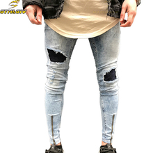 Мужские джинсы Stretch Destroyed Ripped Folds Дизайн Модная лодыжка молнии Тощий байкер Джинсы для мужчин Брюки Jogger Plus Размер 38