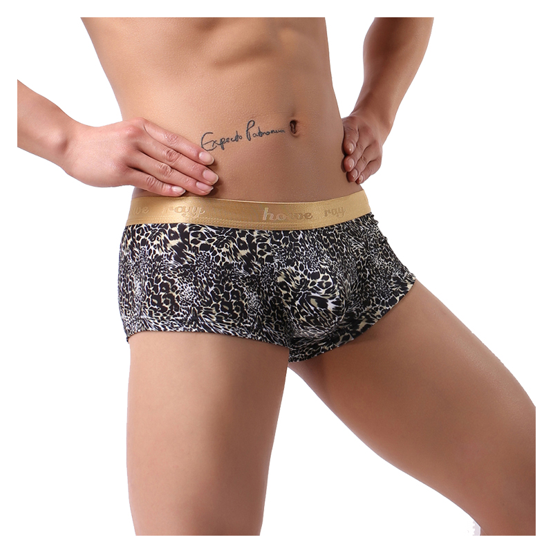 Male Underwear Sexy Boxers Brand 2018 New Leopard Trunks Comfortable Low Waist Boxer Panties Gay Underwear U Men Shorts 2018