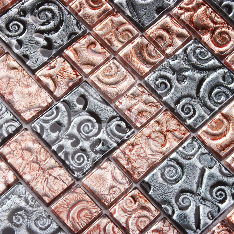 Electroplated Gold Foil Mosaic Tiles EHM1030 For Kitchen Backsplash Bathroom Shower Fireplace Dining Room Wall