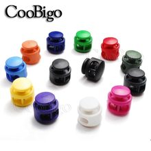 5pcs 16.5mm * 16.5mm Pick Kleuren Paracord Cord Lock Klem 2 Hole Toggle Clip Stopper Schoenveter Cord zak Onderdelen Accessoires(China)