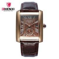 2016 New CHENXI Quartz Watch Men Top Brand Luxury Genuine Leather Watches Clock Mens Dress Square