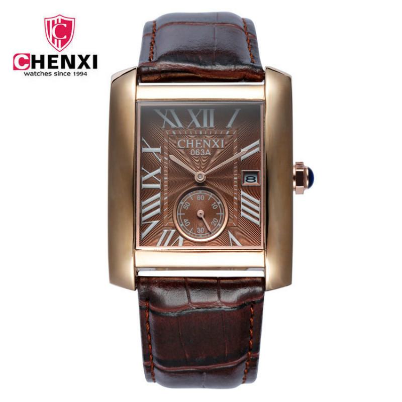 Prix pour CHENXI Mode D'affaires Hommes Montres Top Marque De Luxe En Cuir Véritable Montre À Quartz Hommes Horloge Carré Montre-Bracelet reloj hombre 2017