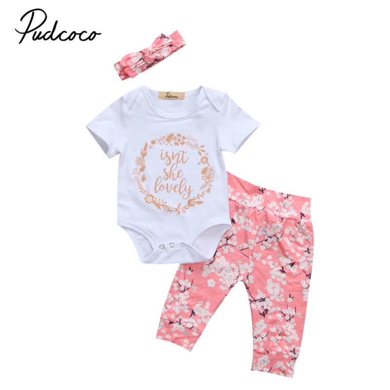 Kids Baby Girls Infant Newborn Summer Clothing Sets Cotton Floral Short Sleeve Romper+Long Pants 3Pcs Set Clothes Outfits 0-2Y